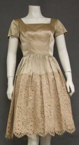 Gorgeous Rosey Beige Satin 1950's Cocktail Dress w/ Scalloped Lace