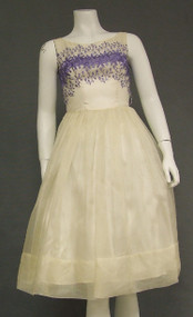 Ivory Organdy Vintage Party Dress w/ Purple Embroidery