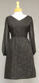 Black Brocade 1960's Cocktail Dress w/ Sheer Sleeves