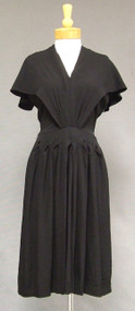 Wonderful Black Crepe 1940's Cocktail Dress w/ Cape Bodice