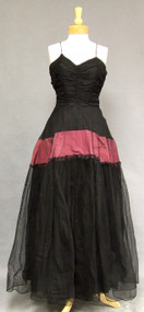 Black Marquisette & Mulberry Taffeta 1940's Evening Gown