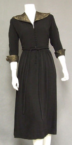 COOL Black Crepe 1940's Cocktail Dress w/ Striped Collar & Cuffs