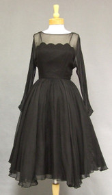 Elegant Black Chiffon 1950's Cocktail Dress w/ Scalloped Illusion Bodice