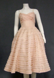 Rappi Pink Ruffled Tulle 1950's Cocktail Dress w/ Sequins