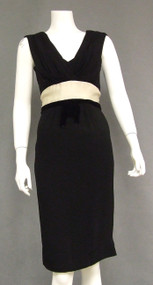 Sam Friedlander Black Crepe, Cream Satin & Black Velvet Cocktail Dress