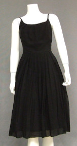 Pretty Black Chiffon 1960's Cocktail Dress w/ Rhinestone Straps