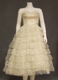 Ivory & Silver Floral Lace & Tulle Strapless 1950's Prom Dress