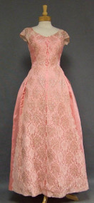 Pink Satin & Lace 1960's Evening Gown