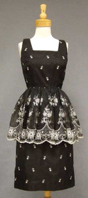 Bombshell Black Organdy Vintage Cocktail Dress w/ White Embroidery