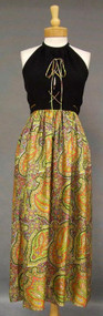Donald Brooks Paisley Silk Evening Gown w/ Crepe Corset Bodice