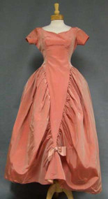 INCREDIBLE Salmon Taffeta 1960's Wedding Gown