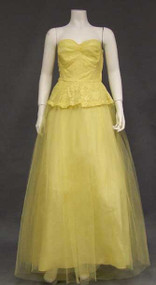 Lovely Lemon Yellow Lace & Tulle Strapless 1950's Prom Dress w/ Bolero