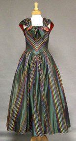 Iridescent Green Taffeta 1940's EVening Gown w/ STripes