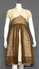 Cream Crepe 1940's Cocktail Dress w/ Chocolate Lace Overlay