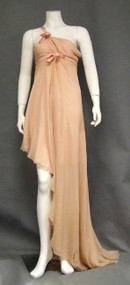 EXQUISITE Pale Pink Chiffon Asymmetrical Sarmi Evening Gown