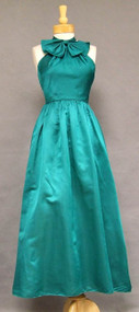 Emerald Satin 1960's Halter Evening Gown