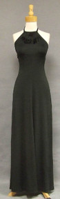 Sultry Black Knit 1970's Halter Dress w/ Feathers