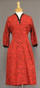 Black & Red Printed Faille 1950's Cocktail Dress w/ Velvet Trim