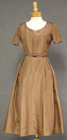Ben Barrack Mocha Silk Taffeta 1950's Cocktail Dress 37