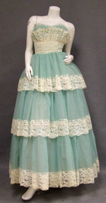 Aqua Chiffon & Cream Lace Strapless 1960's Ball Gown