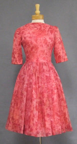 Pink Floral Chiffon 1960's Cocktail Dress w/ Pleated Shoulder