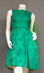 Lovely Green Damask 1960's Cocktail Dress w/ Shoulder Scarf