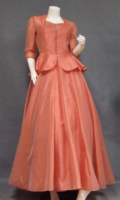 Salmon Organdy Evening Dress w/ Slip