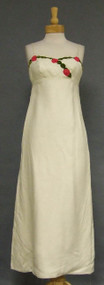 Lovely Ivory 1960's Evening Dress w/ Floral Trim