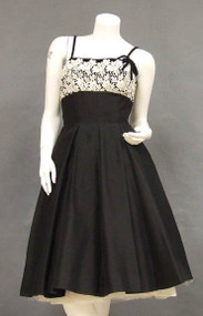 Beautiful Black 1950's Cocktail Dress w/ Velvet & Ivory Lace Trim