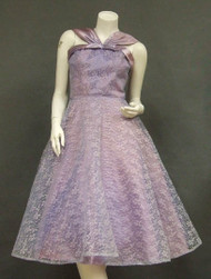 Lavender Lace & Satin Halter Dress w/ Full Skirt