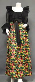 Black Organdy & Bold Floral Silk Sarmi Evening Gown w/ Ruffles