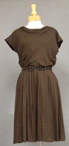Draped Brown Chiffon 1960's Cocktail Dress w/ Beaded Belt