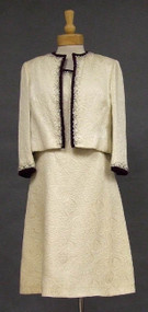 Harvey Berin Cream Brocade Dress & Jacket w/ Beads & Wine Velvet