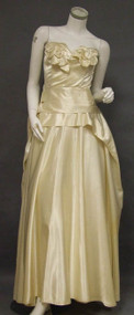 Elegant Cream Satin Strapless 1950's Dress w/ Satin Flower Appliques