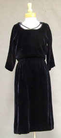 Midnight Blue Velvet Harvey Berin Cocktail Dress w/ Blouson Bodice