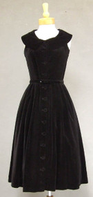 Black Velveteen 1950's Cocktail Dress w/ Shawl Collar & Button Front