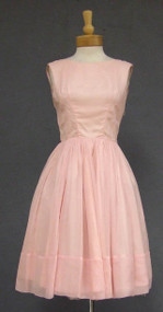Pretty Pink Chiffon 1960's Cocktail Dress w/ Draped Back