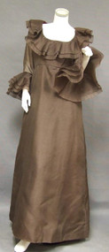 Brown Organdy Sarmi Evening Gown w/ Dramatic Ruffles
