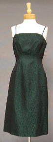 Simple Green & Black Brocade 1960's Cocktail Dress