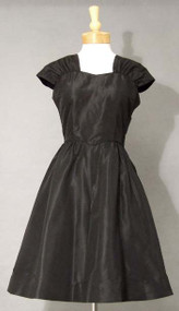 Betty Barclay Black Taffeta 1950's Cocktail Dress