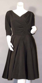 Black Faille Early 1950's Cocktail Dress w/ Surplice Style Bodice