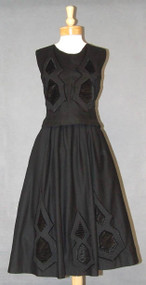UNUSUAL Black Wool & Velvet 1950's Two Piece Ensemble