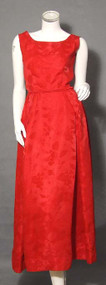 Lovely Red Damask 1960's Evening Gown