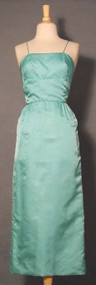 Classic Aqua Satin Evening Dress w/ Fishtail
