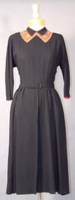 BEAUTIFUL Black Crepe & Red Faille 1940's Cocktail Dress