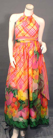 Terrific Plaid & Floral Printed Chiffon Halter Gown w/ Rope Tie