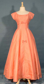 Feminine Melon Organdy Ball Gown w/ Bows