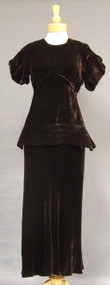 Superb Chocolate Velvet 30's Bias Gown w/ Peplum