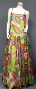 Chic Printed Organza Sarmi Ball Gown w/ Tank Style Bodice & Matching Vest