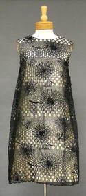 WILD Ivory & Black Silk 1960's Sarmi Cocktail Dress w/ Eyelet Overlay